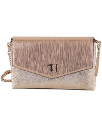 Trussardi - Women's Gold Polyurethane Shoulder Bag - Lyst