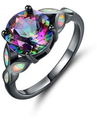 Peermont - Black Rhodium Plated 4cctw Round-cut Rain. Bow Topaz & Fire Opal Engagement Ring - Lyst