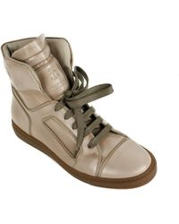 Brunello Cucinelli - Womens Gold Metallic Leather High Top Sneakers - Lyst