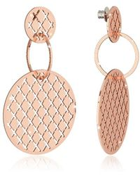 Rebecca - Melrose Rose Gold Over Bronze Stud Drop Earrings W/round Charms - Lyst