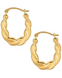 Jewelry Affairs - 10k Yellow Gold Shiny Twisted Oval Hoop Earrings, Diameter 20mm - Lyst