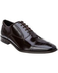 Versace - Versace Collection Brogue Brushed Leather Lace-up Oxford - Lyst