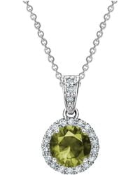 Tia Collections - 0.11ctw Diamond Halo Pendant With 5mm Peridot - Lyst