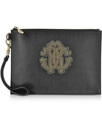 Roberto Cavalli - Women's Black Leather Clutch - Lyst