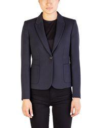Miu Miu | Women's Virgin Wool Buttoned Coat Navy | Lyst