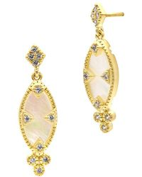 Freida Rothman - 14k Over Silver Mother-of-pearl Eyelet Marquise Drop Earrings - Lyst