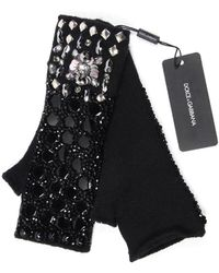 Dolce & Gabbana - Dolce E Gabbana Women's Black Cashmere Gloves - Lyst