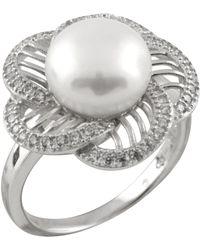 Splendid - Star Shaped Cz Freshwater Pearl Ring - Lyst