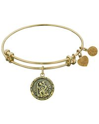 Angelica - Stipple Finish Brass Saint Christopher Bangle Bracelet, 7.25 - Lyst