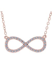 Jewelry Affairs - Infinity Sign Link And Cz Necklace In Rose Color Finish Sterling Silver, 18 - Lyst
