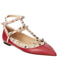 Valentino - Red Rockstud Leather Ballet Pumps - Lyst