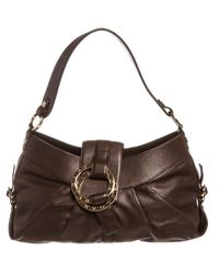 BVLGARI - Dark Brown Leather Shoulder Handbag - Lyst