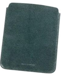 Brunello Cucinelli - Hunter-green Embossed Leather Large Ipad Sleeve - Lyst