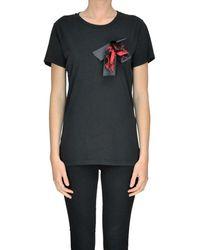 Pinko - Women's Black Cotton T-shirt - Lyst