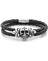 Amanda Rose Collection - Braided Black Leather Wrap Around Steel Skull With Cross Bracelet - Lyst