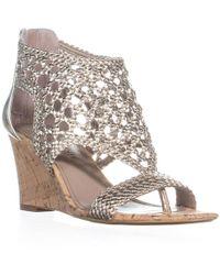 Donald J Pliner - Donald J Pliner Joli Perforated Wedge Sandals, Platino - Lyst