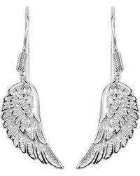 Jewelry Affairs - Sterling Silver Angel Wing Dangle Earrings - Lyst