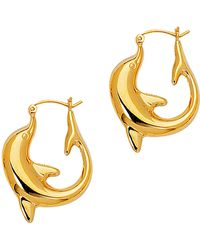 Jewelry Affairs - 14k Yellow Gold Shiny Large Dolphin Hoop Earrings, Diameter 22mm - Lyst