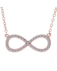 """Jewelry Affairs - Infinity Sign Link And Cz Necklace In Rose Color Finish Sterling Silver, 18"""" - Lyst"""