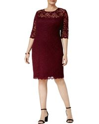 Connected Apparel - Womens Plus Lace Illusion Cocktail Dress - Lyst