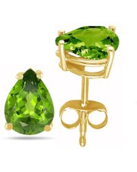 Tia Collections - 7x5 Pear Shape Peridot Earrings In 14k Yellow Gold - Lyst