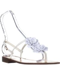Callisto - Poli T-strap Flower Sandals - White - Lyst