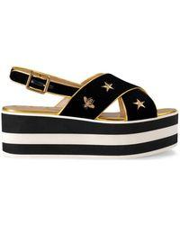 Gucci - Women's Black Velvet Sandals - Lyst