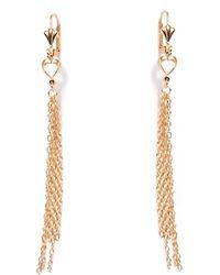 Peermont - Gold Heart Dangling Earrings - Lyst