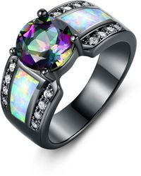 Peermont - Black Rhodium Plated 2cttw Round-cut Topaz & White Fire Opal Engagement Ring - Lyst