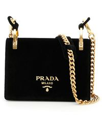 48c913a70610 Prada Black Logo Nylon Lambskin Detail Shoulder Bag in Black - Lyst