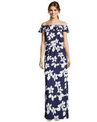 Adrianna Papell - Simple Delight Ruffle (blue Multi) Women's Dress - Lyst