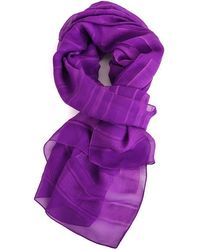 Givenchy - Women's Silk Blend Purple Logo Print Striped Scarf - Lyst