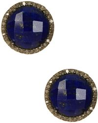 Adornia - Lapis And Champagne Diamond Echo Stud Earrings - Lyst