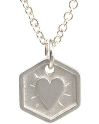 Dogeared - Silver New Mom Heart Necklace - Lyst