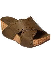 Chocolat Blu - Mysti Leather Wedge Sandal - Lyst