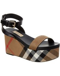 Burberry - House Check Lather Wedge Sandal - Lyst