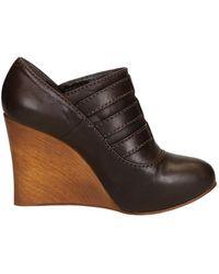 4c75434226d Lyst - Chloé Ch22276 Open Toe Leather Wedge Heel in Black