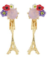 Les Nereides - From Paris With Love Eiffel Tower And Flowered Stone Clip Earrings - Lyst