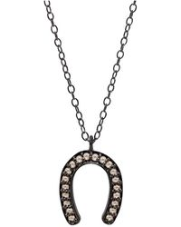 Adornia | Champagne Diamond And Sterling Silver Jules Horseshoe Necklace | Lyst