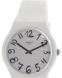 Swatch - Gesso Suow153 Matte White Silicone Quartz Fashion Watch - Lyst