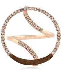 Socheec - Round Diamond And Wood Ring In Rose Gold - Lyst