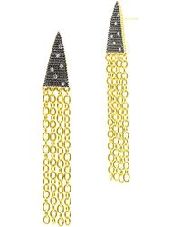 Freida Rothman - 14k & Rhodium Over Silver Cz Fringe Pointed Drop Earrings - Lyst