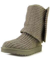 UGG - Classic Cardy Women Round Toe Canvas Grey Winter Boot - Lyst