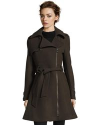 Catherine Malandrino - Wool Blend Heavy Twill Asymmetrical Fit And Flare Zip Coat - Lyst