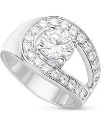 Charles & Colvard - Round Brilliant Cut 7.5mm Moissanite Celia Ring- Size 7, 2.10cttw Dew - Lyst