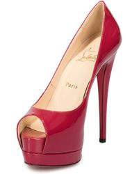 9b9129e17761 Christian Louboutin - Palais Royal Red Bisou Patent Leather 120mm Platform  Pump - Lyst