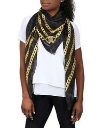 Roberto Cavalli - C3s07d080207 Black/gold Chain Shawl - Lyst