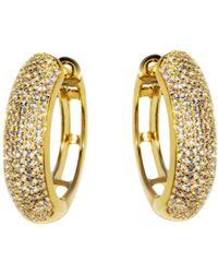 Barzel - 18k Gold Plated Sterling Silver Gold Plated Cz Huggies Earring - Lyst