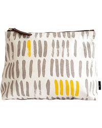Maika - Vertical Strokes Grey/mustard Print Zipper Pouch - Lyst