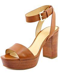 35ab657f287 MICHAEL Michael Kors - Leonora Ankle Strap Women Leather Tan Platform Sandal  - Lyst